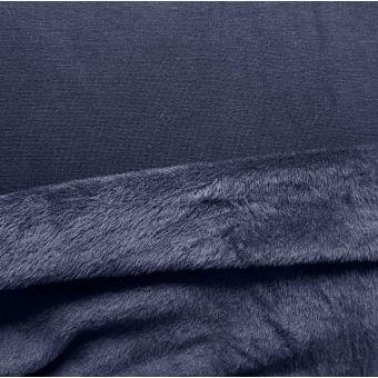Tissu molleton Alpfleece envers polaire uni bleu marine