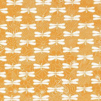 Tissu coton jaune libellules