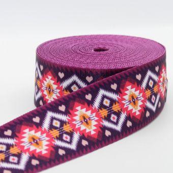 Ruban sangle 50 mm violet imprimés graphiques ethniques