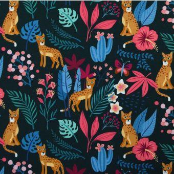 Tissu jersey coton bio jungle vert Albstoffe