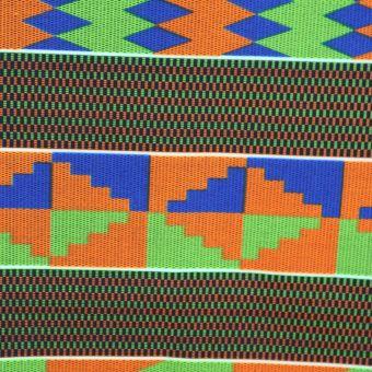 Tissu Kente rayures orange, vert et bleu - Karabashop