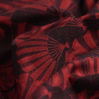 Tissu japonais éventails rouge et noir