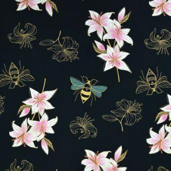Tissu molleton french terry bio Lily noir - Albstoffe