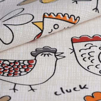 Tissu ottoman coton recyclé poules