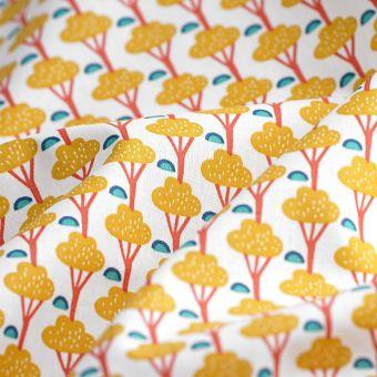 Tissu cretonne arbres jaunes