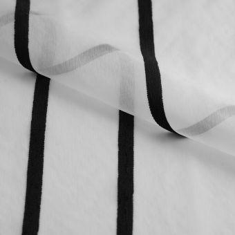 Tissus voilage translucide blanc à rayures fil chenille noires