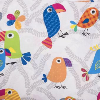 Tissu coton perroquet multicolore