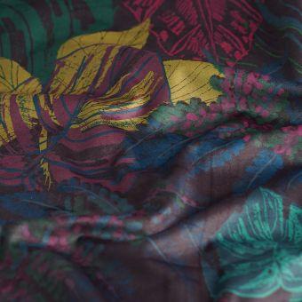 Tissu velours imprime feuillage