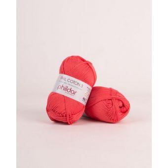 Pelote de coton à tricoter Phildar 3 pasteque