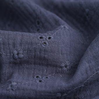 Tissu double gaze broderie anglaise bleu marine