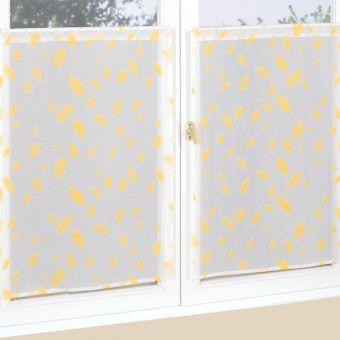 Paire de vitrages étamine imprimée plume 45 x 90 cm
