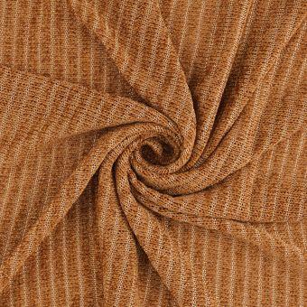 Tissu velours maille rayé safran