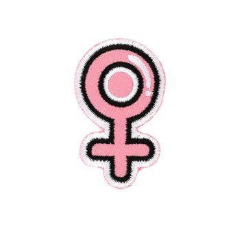Écusson thermocollant symbole femme rose