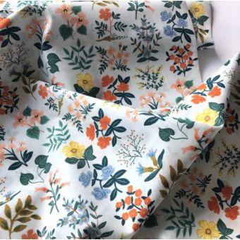 Tissu voile de coton bleu ciel imprimé petits bouquets fleurs - Rifle Paper