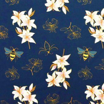 Tissu molleton french terry bio Lily bleu - Albstoffe