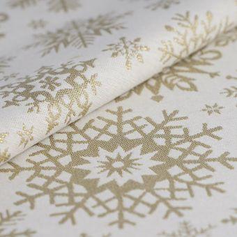 Tissu de noël jacquard flocons dorés