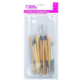 Set de 11 outils de modelage en bois et métal