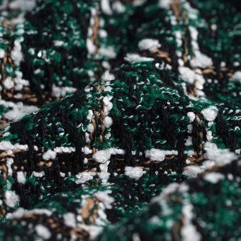 Tissu tweed polyester à sequins vert