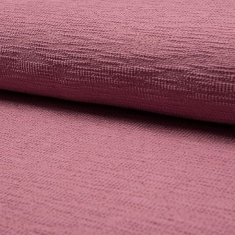 Tissu velours chenille effet chiné texturé uni vieux rose