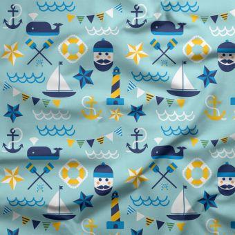 Tissu PUL pour couches lavables marin bleu - La Panda Love Fabrics