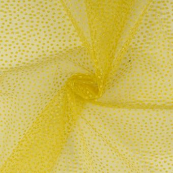 Tulle jaune aux minis pois brillants carnaval