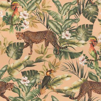 Tissu velours léopard jungle orange