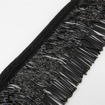 Ruban frange perlé cristal noir 100 mm
