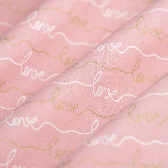 Tissu cretonne much love rose