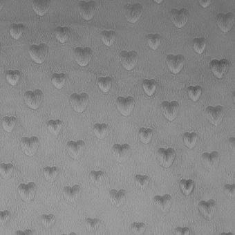 Tissu polaire gaufré cœur gris clair