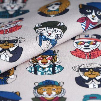 Tissu coton épais chiens chats rigolos