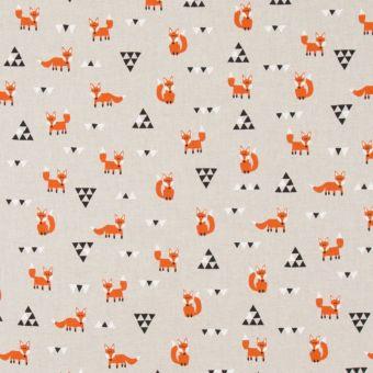 Tissu coton épais renards orange