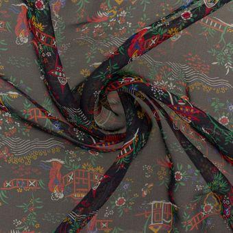 Tissu Liberty soie crêpe noir motif japonais
