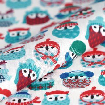 Tissu cretonne hiboux d'hiver bleu