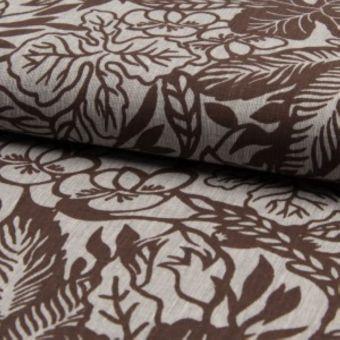 Tissu toile coton lin à motifs grosses fleurs marron