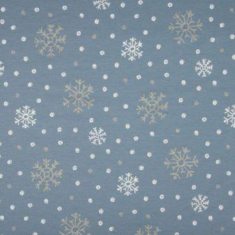 Tissu molleton sweat french terry bleu flocons