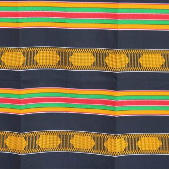 Tissu Kente rayures bleu, vert, jaune et moutarde - Karabashop