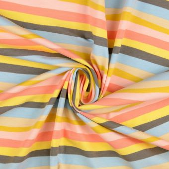 Tissu jersey coton rayures pastel