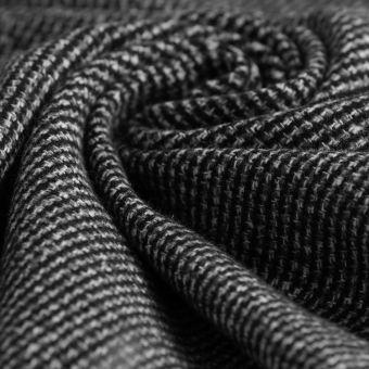 Tissu lainage manteau polyester chiné noir