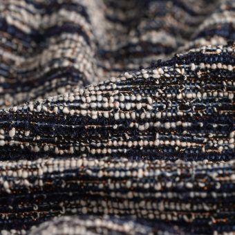Tissu Jacquard polyester effet tweed multicolore