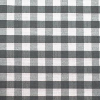 Popeline coton mercerise motif vichy 10 mm gris
