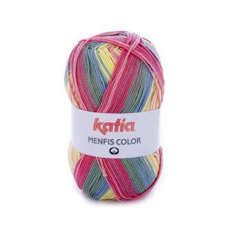 Fil à tricoter Katia Menfis Color rose jaune bleu