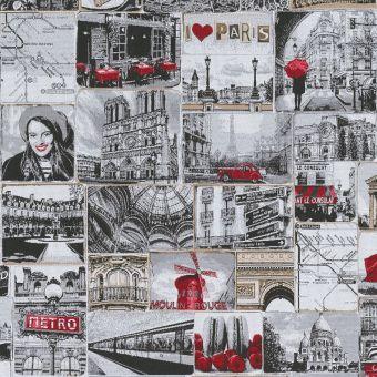 Tissu jacquard patch J'aime Paris