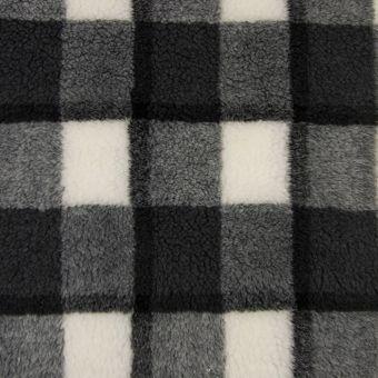 Fausse fourrure carreaux gris noir