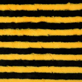 Tissu fausse fourrure rayure noir jaune