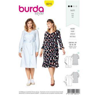 Patron Burda 6215 Robe chemise encolure V avec ou sans jupe volantée - du 46 au 56