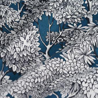 Tissu coton épais arbres bleu canard
