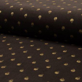 Tissu velours côtelé marron champignons