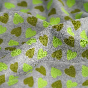 Tissu Jersey coton polyester coeurs vert gris