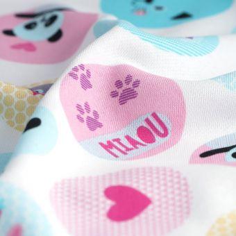 Tissu french terry coton animaux multicolore