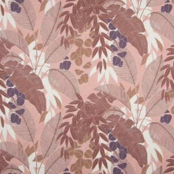 Tissu molleton sweat bio French Terry feuilles palmiers vieux rose